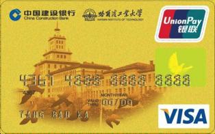 建行哈工大龙卡(银联+VISA,人民币+美元,金卡)怎么申请办理?年费是多少?怎么免年费?插图